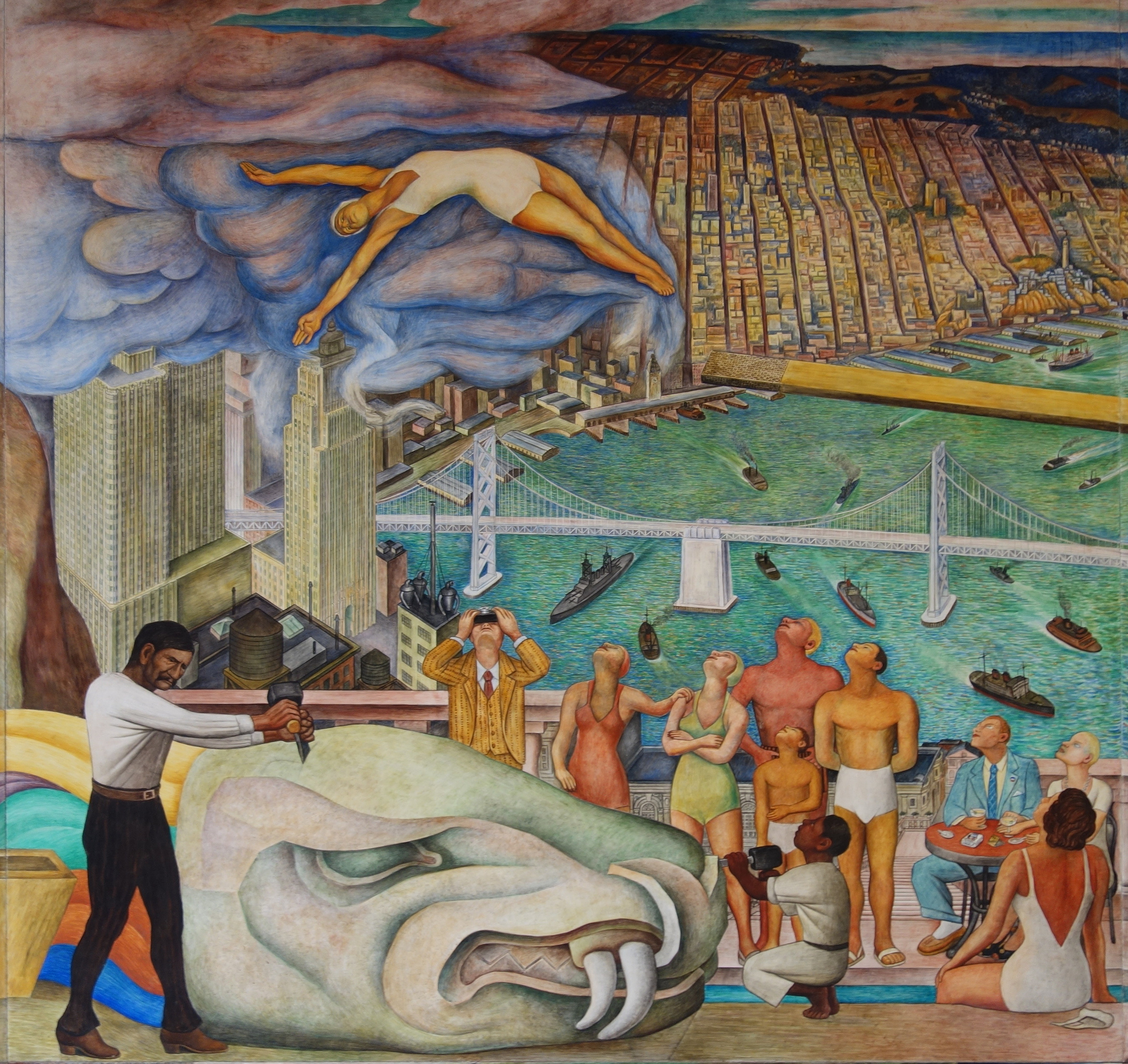 Diego rivera pan american unity mural at city college of for Diego rivera mural in san francisco